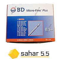 Шприц инсулиновый BD Micro-fine+U-100, 0,5 мл - 100шт.