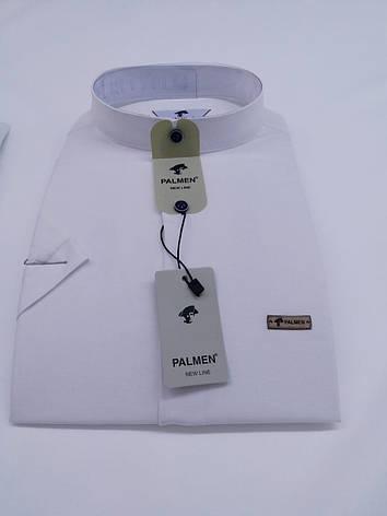 Льняная тенниска Palmen приталенного кроя, стойка, фото 2