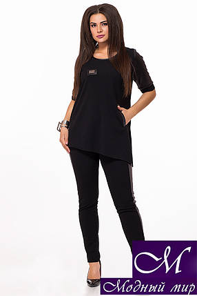 Женский черный брючный костюм батал (р. 52-54, 56-58, 60-62) арт. 28-820, фото 2