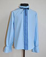 Детская школьная блузка на девочку 9-12лет с кружевом голубого цвета, фото 1