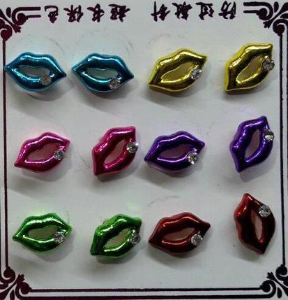 """Сережки-гвоздики """"Губи"""" / ціна за пару, фото 2"""