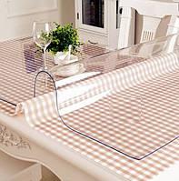 Силиконовое мягкое стекло Прозрачная защитная скатерть для стола и мебели Soft Glass (1.2х1.0м) толщина 1.5мм
