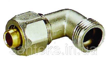 Куточок металопластиковый діаметр 26 х 3/4 зовнішня різьба