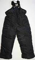 Детский теплый зимний полукомбинезон черный, р.104-110
