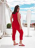 Красивый летний комбинированный  брючный костюм, разные цвета Р-р.48-50,52-54,56-58,60-62 Код 074Я, фото 3