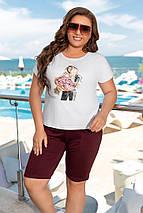 """Летний спортивный женский костюм """"BALENCIAGA"""" с футболкой и шортами (большие размеры), фото 2"""