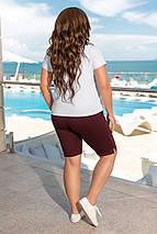 """Летний спортивный женский костюм """"BALENCIAGA"""" с футболкой и шортами (большие размеры), фото 3"""
