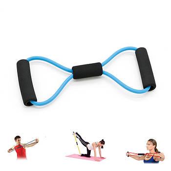 Эспандер трубчатый восьмерка Dobetters DBT-YJ06 Blue резиновый плечевой с неопреновыми ручками для фитнеса