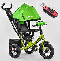 Детский трёхколёсный велосипед с пультом Best Trike 7700 В-2550 с родительской ручкой, сине-зеленый