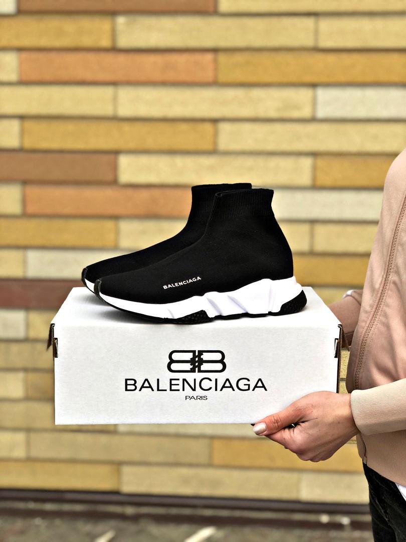 Кроссовки мужские Balenciaga черного цвета. Стильные мужские носки с подошвой Баленсиага.