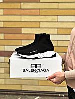 Кроссовки мужские Balenciaga черного цвета. Стильные мужские носки с подошвой Баленсиага. , фото 1