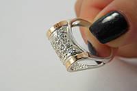 Оригинальное серебряное кольцо с фианитами и золотом