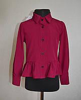 Детская школьная блузка (рубашка) для девочек 5-10 лет бордового цвета, фото 1