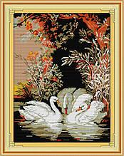 Набор для вышивания крестиком NKF Семья лебедей D324 14ст