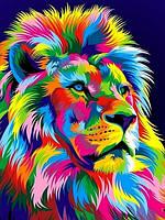 Картина по номерам Королевский радужный лев. Худ. Ваю Ромдони, 30x40 см., Babylon