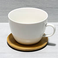 Кружка фарфоровая 450мл с деревянным костером 12см Naturel 938-003