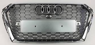 Решетка радиатора Audi A4 B9 (15-19) стиль RS4 (хром + серебро)