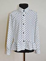 Детская школьная блузка (рубашка) на девочку 5-10 лет, белая в синий горошек, фото 1