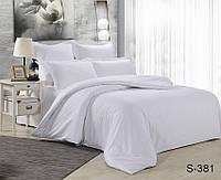 Белое постельное белье семейное из люкс сатина S381
