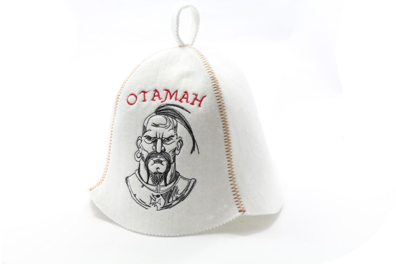 Шапка для сауны (белая), Отаман, искусственный фетр, Saunapro