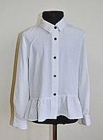 Детская школьная блузка (рубашка) на девочку 5-10 лет, белая в мелкий горошек, фото 1