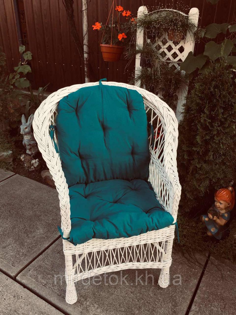 Кресло Классическое из натуральной лозы Эко белый