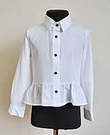 Детская школьная блузка (рубашка) для девочек 5-10 лет белого цвета, фото 1