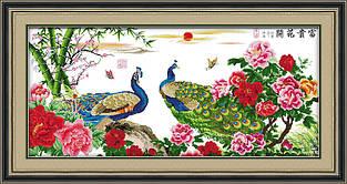 Набор для вышивания крестиком NKF Цветы и павлины  D165/1 14ст