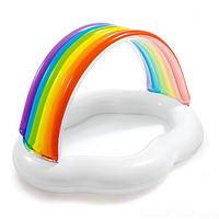 Басейн для дітей надувний Intex 57141 Веселка-Хмара 142х119х84 см з навісом для дачі від 1 року