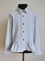 Детская школьная блузка (рубашка) для девочки 5-10 лет, цвет светло-серый, фото 1