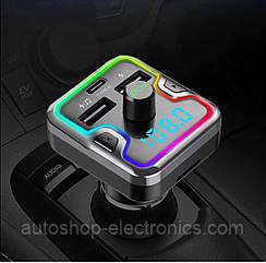 Блютус ФМ модулятор / Подсветка LED 7 COLORS RGB / Громкая связь / Зарядное USB + Type C /microSD / Вольтметр