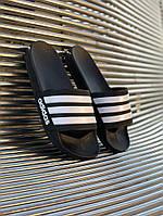 Шлепки мужские adidas black-white черные с белым . Сланцы адидас.