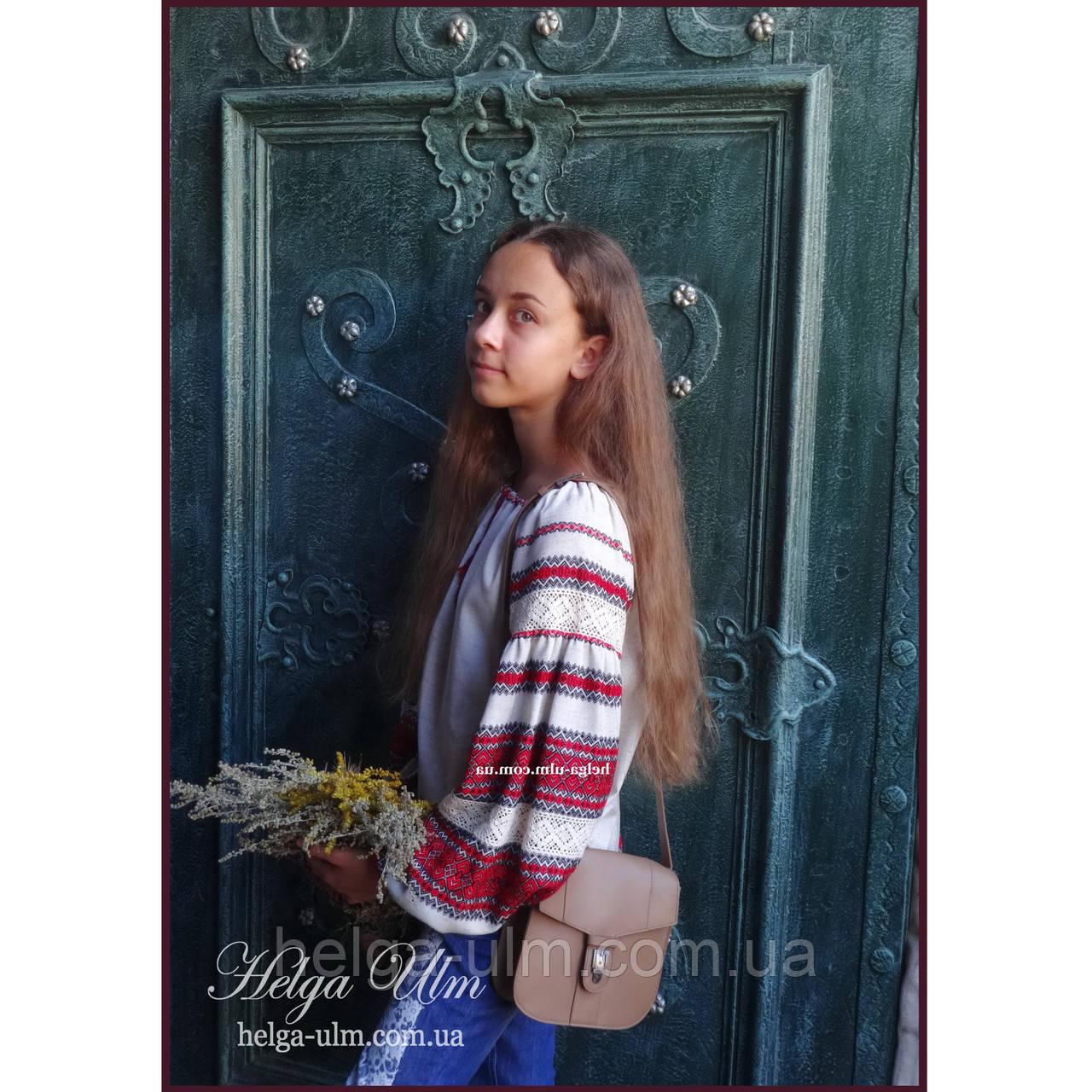 """Дитяча туніка-блуза з вишивкою і натуральним мереживом """"Катерина"""" - 128 р."""