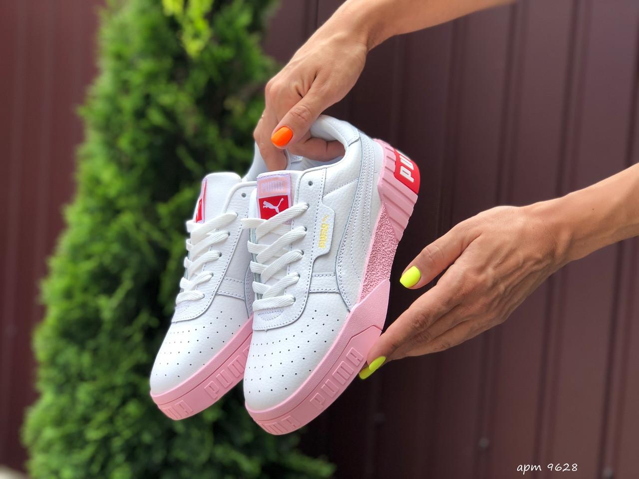 Женские кроссовки Puma Cali белые с розовым кеды / жіночі кросівки Пума Калі білі з рожевим (Топ реплика ААА+)
