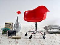 Кресло офисное, стул пластиковый на колесиках с хромированным основанием Leon Office