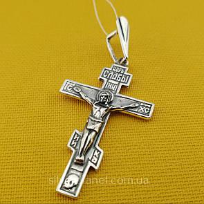 Серебряный крест. Кулон из 925 пробы. Мужской крестик 3919