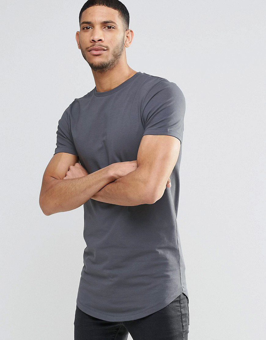 Купить Мужская стильная удлиненная футболка