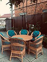 Набор мебели для большой семьи с круглым столом  из натуральной лозы Эко