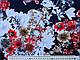 Трикотаж вискозный цветы, красно-белый на синем, фото 2