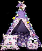 Вигвам Хатка комплект Бонбон Совы фиолетовый с подушками, фото 1