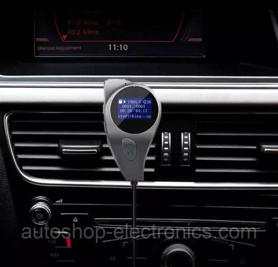 Блютус ФМ модулятор / громкая связь / AUX out / USB / microSD / Вольтметр / магнитное крепление