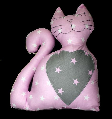 Подушка Хатка Кот Принцесса Розовый с серым