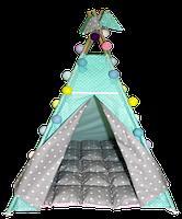 Вигвам Хатка комплект Звезды с мягким ковриком Мятный с серым