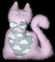Подушка Хатка Кот розовый с серым