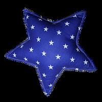 Подушка Хатка Звезда синяя с белым
