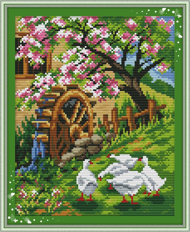 Набор для вышивания крестиком NKF Сияние весны в саду F199 14ст