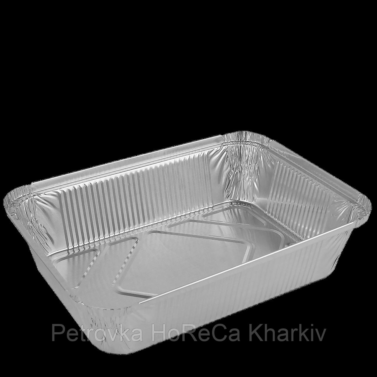 Контейнер из алюминиевой фольги. ПРЯМОУГОЛЬНЫЙ  2000мл, 255х185х53(R88L). Упаковка 50шт, (1ящ/10уп/500шт)