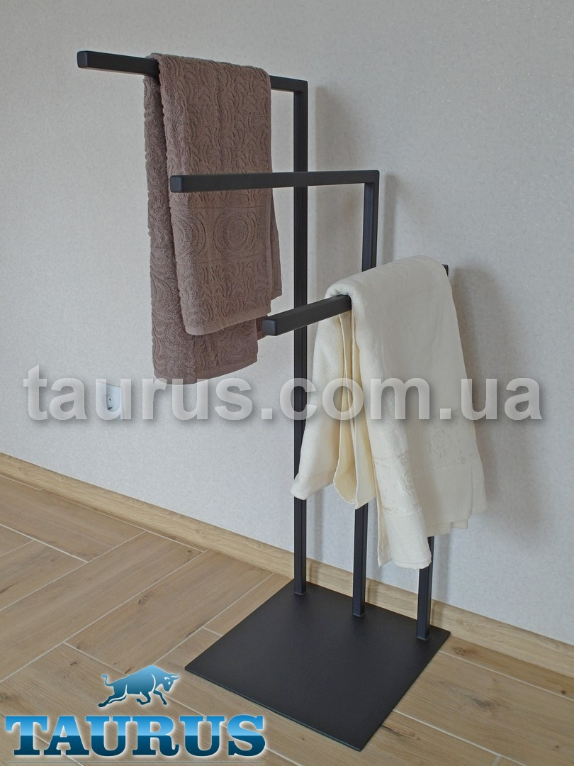 Напольный держатель для полотенец TAURUS Towel Holder Black 3X, чёрная. Тройная Г-подобная. 1000х500х360