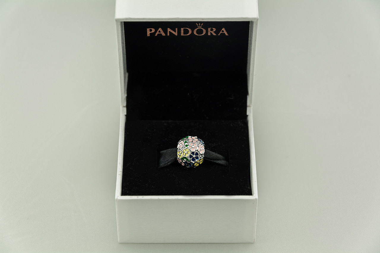 Бусина шарм Цветы подвеска для браслета Pandora Пандора серебряная