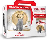 АКЦИЯ! Сухой корм Royal Canin British Adult для британских кошек, 4КГ + 12паучей British в подарок!